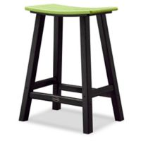 POLYWOOD® Contempo 24-Inch Saddle Patio Bar Stool in Black/Lime