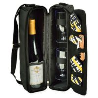 Picnic at Ascot Trellis Collection Sunset Wine Tote for 2 in Black/Yellow