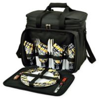 Picnic at Ascot Deluxe Picnic Cooler for 4 in Black/Yellow