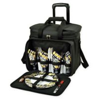 Picnic at Ascot Deluxe Picnic Cooler for 4 with Wheels in Black/Yellow