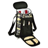Picnic at Ascot Trellis Insulated Wine Tote with Cheese Set in Black/Yellow