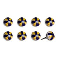 Knob-It Vintage Hand Painted 8-Pack Ceramic Round Knob Set in Yellow/Navy