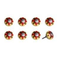 Knob-It Vintage Hand Painted 8-Pack Ceramic Round Knob Set in Yellow/Brown