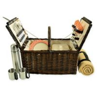 Picnic at Ascot Surrey 2-Person Picnic Basket with Blanket and Coffee Set in Orange