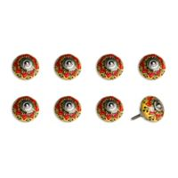 Knob-It Vintage Hand Painted 8-Pack Ceramic Round Knob Set in Yellow/Red