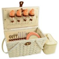 Picnic at Ascot Settler Picnic Basket with Service for 4 in Whitewash/Orange