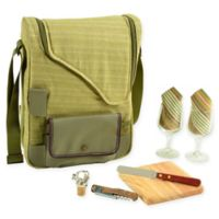 Picnic at Ascot Bordeaux 9-Piece Wine & Cheese Tote with Glasses Set in Olive