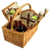Picnic at Ascot 2-Person Vineyard Willow Picnic Basket in Green/White