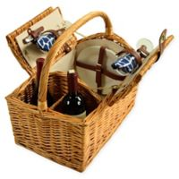Picnic at Ascot 2-Person Vineyard Willow Picnic Basket in Blue/White