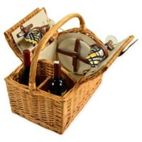 Picnic at Ascot 2-Person Vineyard Willow Picnic Basket in Black/Yellow