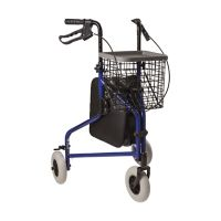 DMI 3-Wheel Aluminum Rollator Walker in Royal Blue