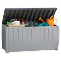 Keter Novel 90-Gallon Plastic Deck Storage Box in Grey/Black