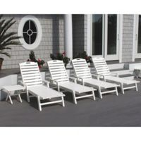 POLYWOOD® Nautical Chaise with Arms in White