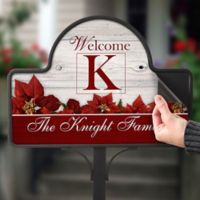 Holiday Poinsettias Magnetic Garden Sign