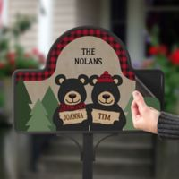 Holiday Bear Family Magnetic Garden Sign