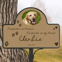 Paw Prints In Heaven Memorial Magnetic Garden Sign