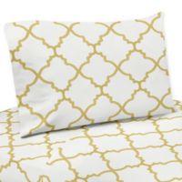 Sweet Jojo Designs Trellis Queen Sheet Set in White/Gold