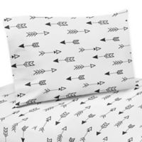 Sweet Jojo Designs Fox Arrow Print Twin Sheet Set in Black/White