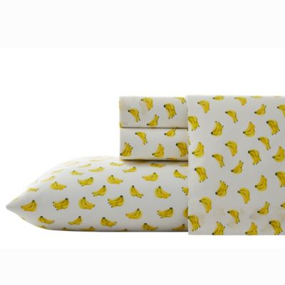 Nine Palms Banana Print Full Sheet Set In Bright Yellow