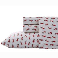 Nine Palms Hula Girl Print Twin Sheet Set in Bright Red/White