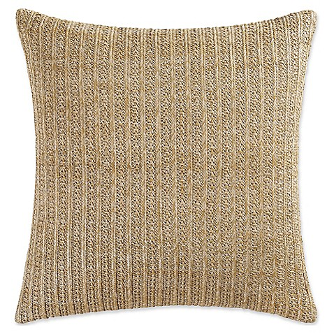 image of Coastal Living® Green Palm Rattan Square Throw Pillow in Natural