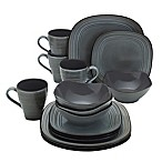 Mikasa® Swirl Speckle Square 16-Piece Dinnerware Set in Graphite