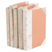 Leather Books Dyed Animal Hide Re-Bound Decorative Books in White (Set of 5)