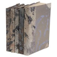 Leather Books Dyed Animal Hide Re-Bound Decorative Books in Grey (Set of 5)