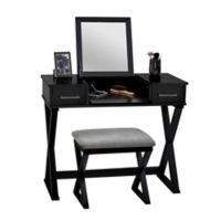 Alexis Bathroom Vanity with Stool in Black