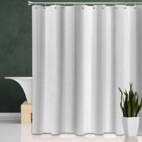 Wide Stripes Shower Curtain in White