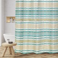 Sarina Jacquard Woven Shower Curtain in Teal/Taupe