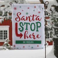 Santa Stop Here Garden Flag