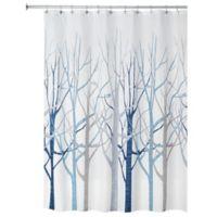 InterDesign® Forest Fabric Shower Curtain in Blue/Grey