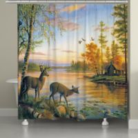 Laural Home Deer on Sunset Lake Shower Curtain
