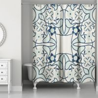 Designs Direct Abstract Tile Shower Curtain in Blue