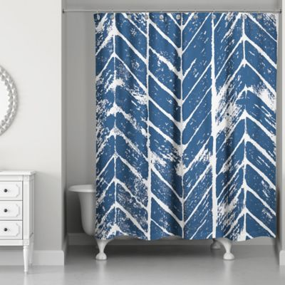 Designs Direct Chevron Stamp Shower Curtain In Blue White
