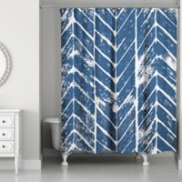 Designs Direct Chevron Stamp Shower Curtain in Blue/White