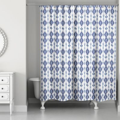 Designs Direct Southwest Ikat Shower Curtain In Navy