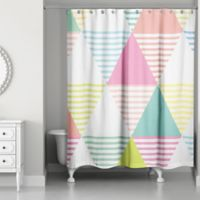 Designs Direct Pastel Geo Triangles Shower Curtain in Pink