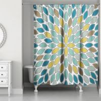 Designs Direct Neutral Petals Shower Curtain in Blue
