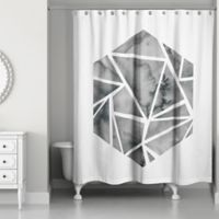 Designs Direct Shattered Hexagon Shower Curtain in Black