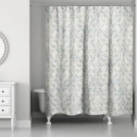 Designs Direct Damask Shower Curtain in Blue