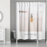 Designs Direct Love This Beach Life Shower Curtain in White