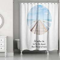 Designs Direct Lost On The Beach Shower Curtain In Blue
