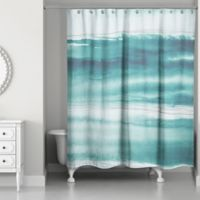 Designs Direct Abstract Ocean Shower Curtain In Teal