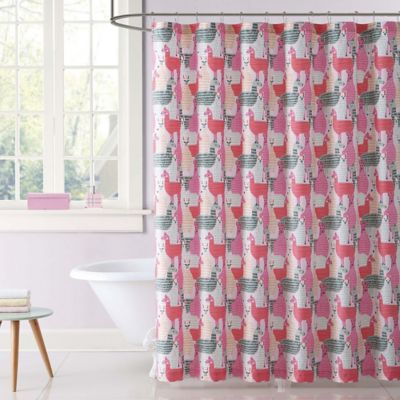 Laura Hart Kids Llama Shower Curtain In Pink Grey