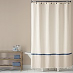 Saturday Knight Fringe Border Shower Curtain in Gold