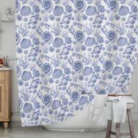 KESS InHouse® Blue Seashells Shower Curtain