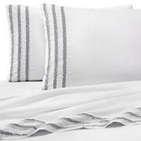 Vida Clipped Jacquard Twin Sheet Set in Grey