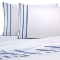 Vida Clipped Jacquard Queen Sheet Set in Blue